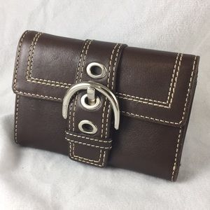 Coach Dark Brown Buckle Leather Wallet Small